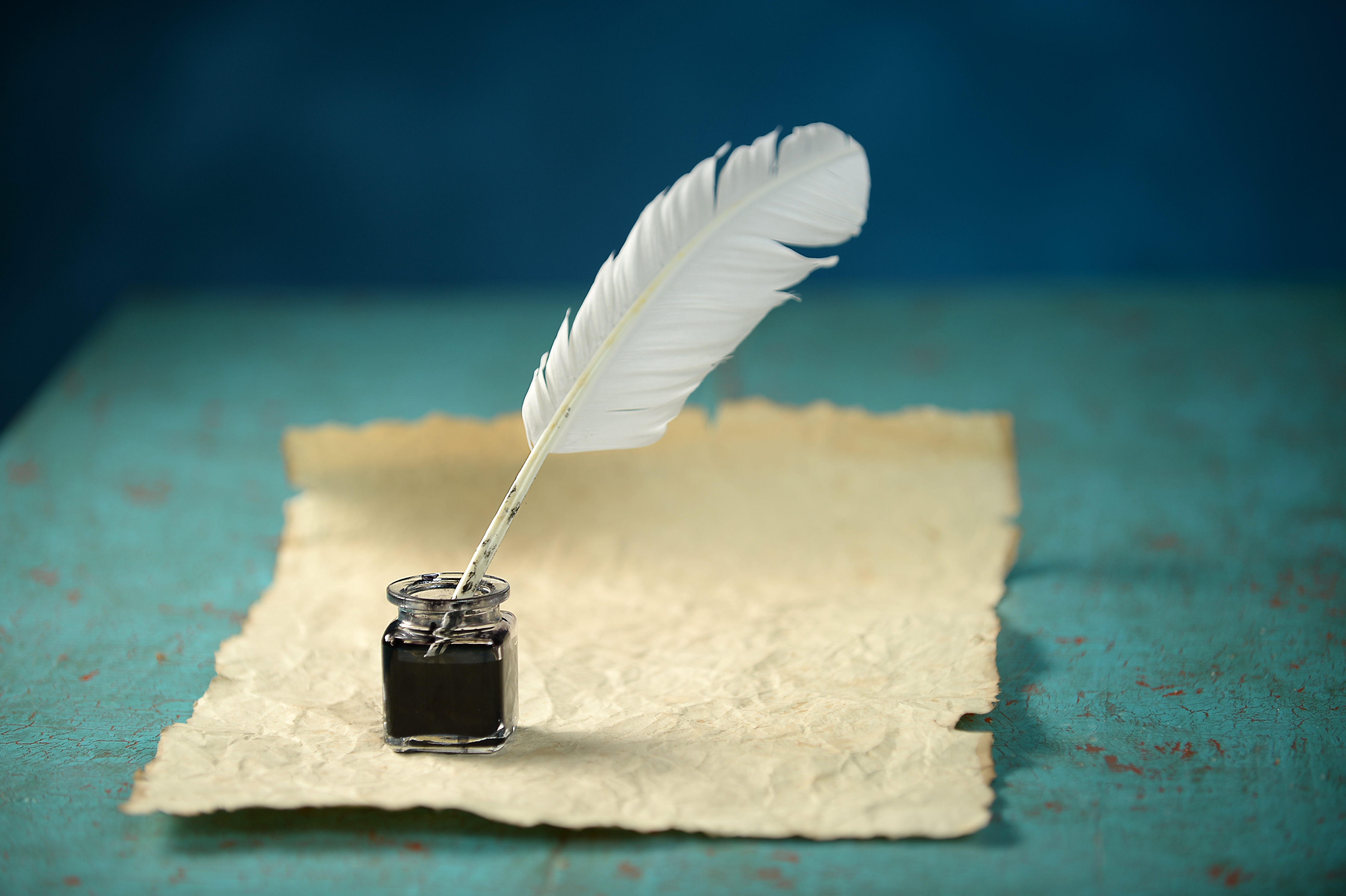 Writing Inkwell, Feather and Paper